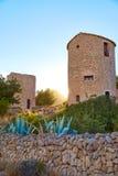 在日落的Javea Xabia el molins在阿利坎特 库存照片