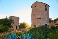 在日落的Javea Xabia el molins在阿利坎特 免版税库存照片