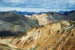 在日落的Landmannalaugar山,冰岛 免版税库存照片