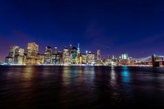 在日落的Manhattant 免版税库存图片
