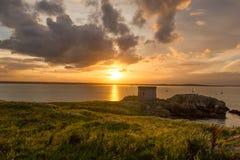 在日落的Martello塔。 爱尔兰 免版税库存照片