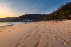 在日落的Naithon海滩 图库摄影