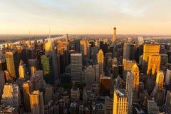 在日落的NYC 库存照片