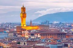 在日落的Palazzo Vecchio在佛罗伦萨,意大利 库存照片