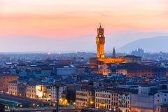 在日落的Palazzo Vecchio在佛罗伦萨,意大利 免版税库存图片