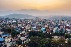 在日落的Patan在尼泊尔 免版税库存图片