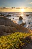 在日落的Pescadero海滩加利福尼亚 图库摄影