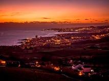 在日落的Ponta Delgada 免版税库存照片