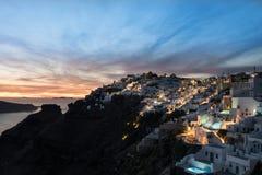 在日落的Santorini 图库摄影