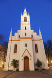 在日落的Schlosskirche 库存照片