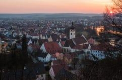 在日落的Schwandorf 库存照片