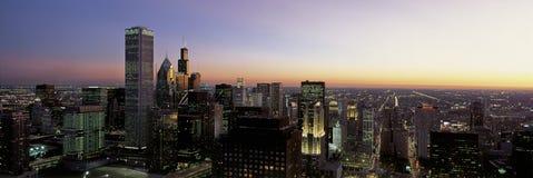 在日落的Sears Tower 库存照片