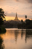 在日落的Shwedagon 免版税库存照片