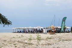 在日落的Skala马里Beba海滩 图库摄影