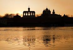 在日落的St索菲娅钟楼 图库摄影