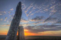 在日落的Teter岩石,火石小山,堪萨斯 免版税库存照片