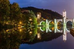 在日落的Valentre桥梁 免版税库存照片