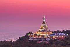 在日落的Wat Thaton,泰国 免版税库存照片