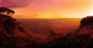 在日落结构树的山 免版税库存图片