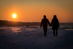 在日落背景的爱恋的夫妇 免版税库存照片