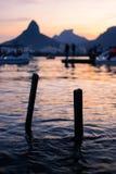 在日落里约热内卢的口岸 免版税库存照片