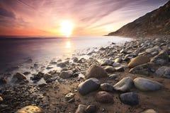 在日落附近的安赫莱斯海滩los 免版税库存图片