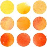 在日落颜色设置的水彩 几何模式 秋天盘旋汇集 免版税图库摄影