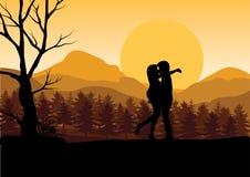 在日落,传染媒介例证的爱甜点 图库摄影