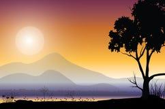 在日落,传染媒介例证的美好的自然 库存照片