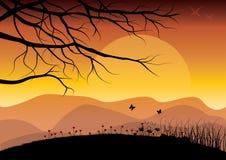 在日落,传染媒介例证的美好的自然 免版税图库摄影