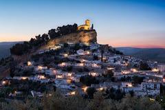 在日落,安大路西亚,西班牙的Montefrio 免版税库存图片