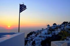 在日落,希腊的Santorini 库存图片