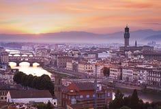 在日落,意大利的佛罗伦萨地平线 图库摄影
