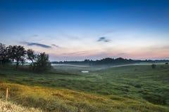 在日落,波兰的夏天横向 免版税库存图片