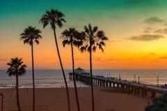 在日落,洛杉矶的加利福尼亚海滩, 库存图片