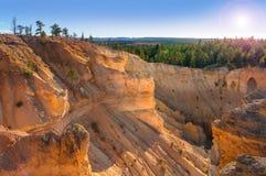 在日落,犹他的布莱斯峡谷国家公园风景 库存照片