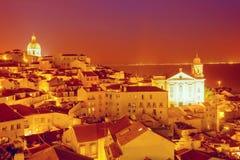 在日落,葡萄牙的里斯本地平线 库存照片