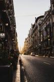 在日落,巴伦西亚,西班牙的都市风景 免版税库存照片