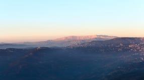 在日落,黎巴嫩的Mt Sannine 库存图片