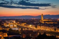 在日落以后的佛罗伦萨地平线 图库摄影
