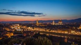 在日落以后的佛罗伦萨地平线 免版税库存图片
