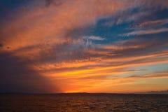 在日落以后的剧烈的天空 免版税库存图片