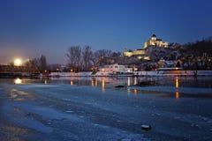 在日落以后的斯洛伐克Trenciansky城堡 库存照片
