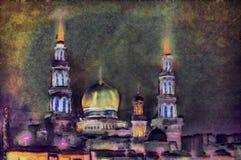 在日落以后的油画伊斯兰教的寺庙在城市 免版税库存图片