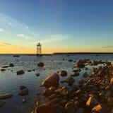 在日落以后的波罗的海 库存图片