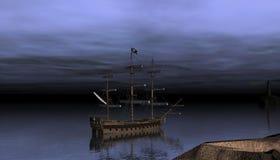 在日落以后的海盗船 免版税库存图片