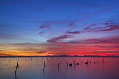 在日落以后的湖 免版税库存图片