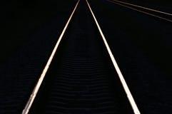 在日落阴影光的铁路轨道  免版税库存图片