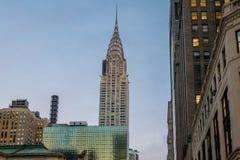 在日落-纽约,美国的克莱斯勒大厦 免版税库存图片