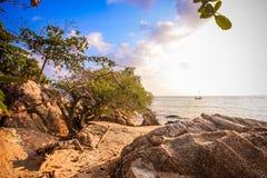 在日落-自然背景的热带海滩 免版税库存图片